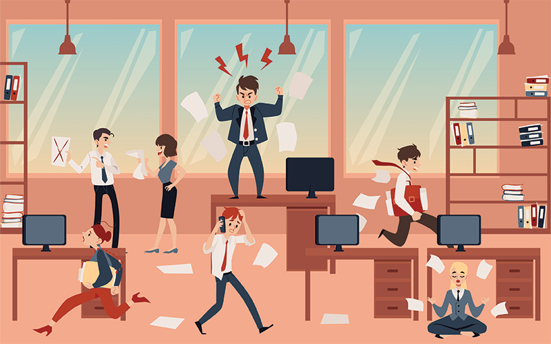 Open Office Concept Chaos Cartoon